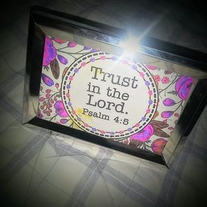 Silver Toned Frame With Hand Colored Psalm 4:5 Car